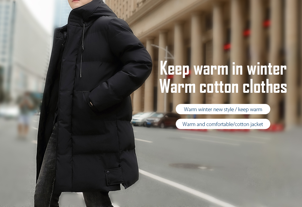Winter Men's Mid-length Cotton Coat Thicken Warm Couple Large Size Padded Jacket - Black 6XL Warm cotton clothes