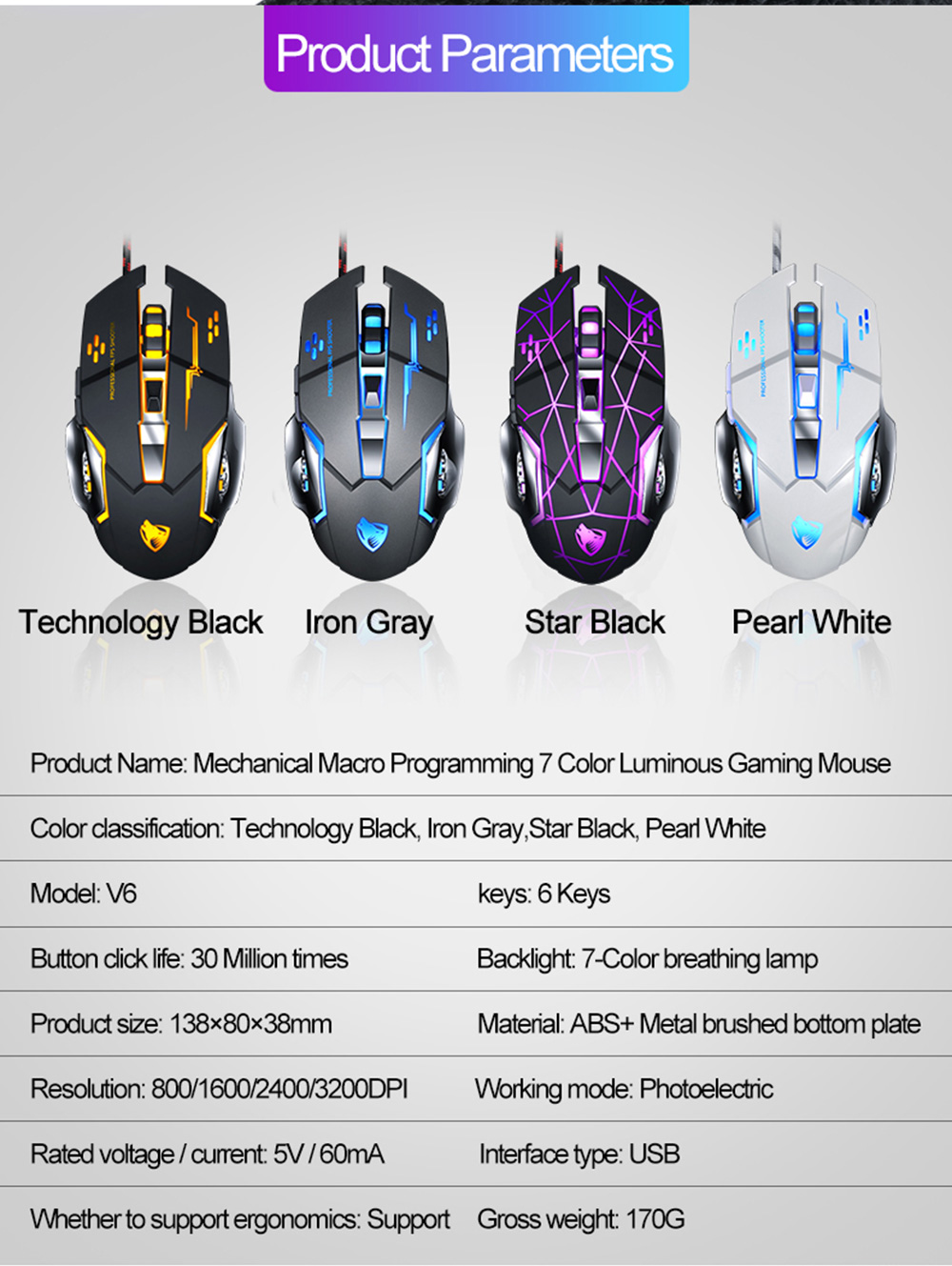 V6 Gaming Mechanical Wired Mouse - White