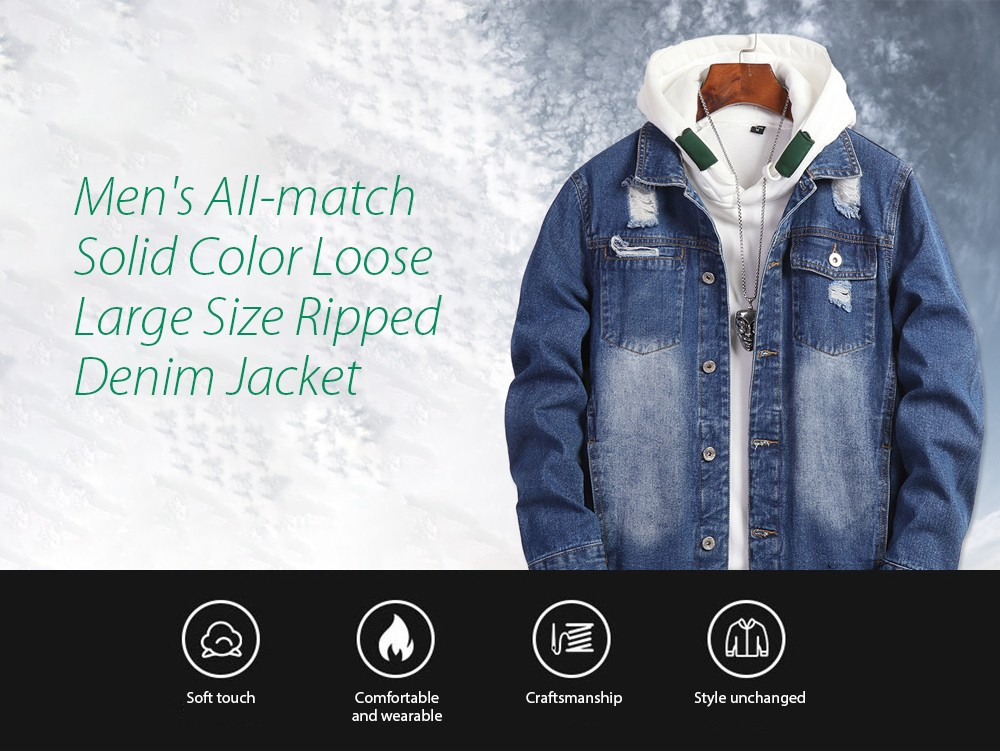 Spring Men's All-match Solid Color Loose Large Size Ripped Denim Jacket - Color Chart XL