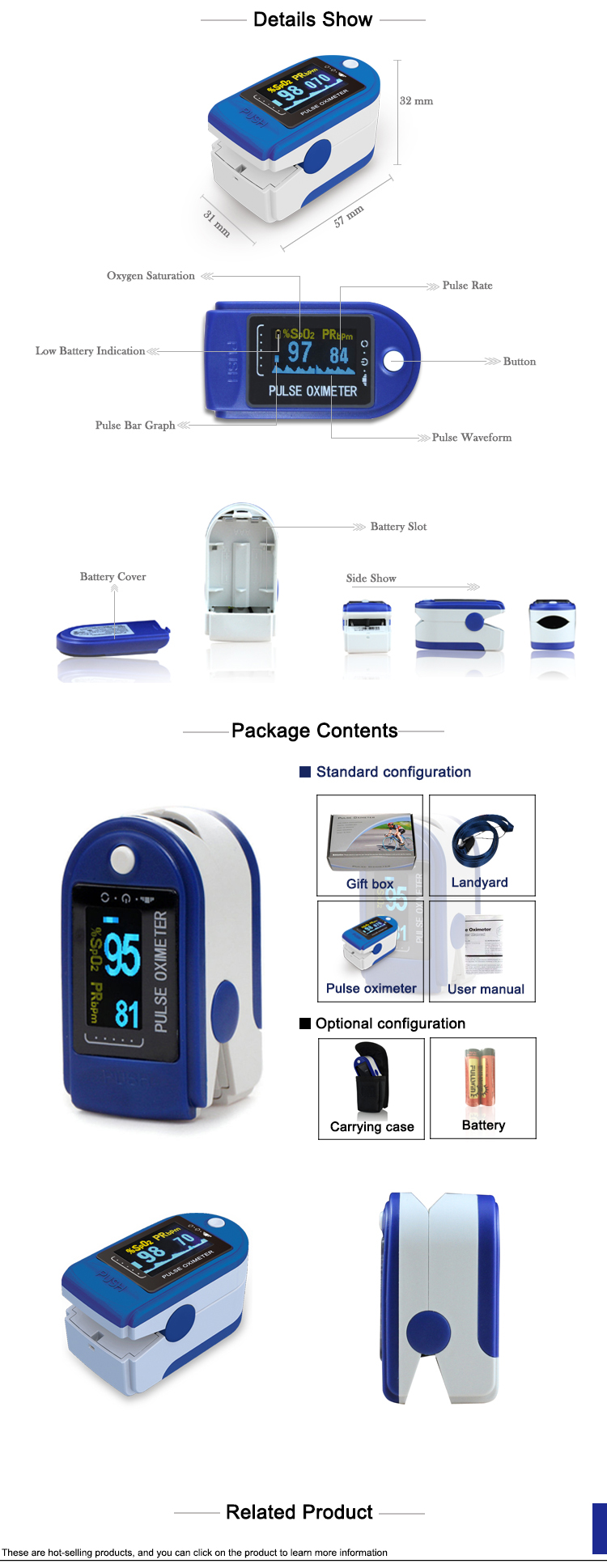 CMS50D Pulse Oximeter Clear Display Health Care - Blue