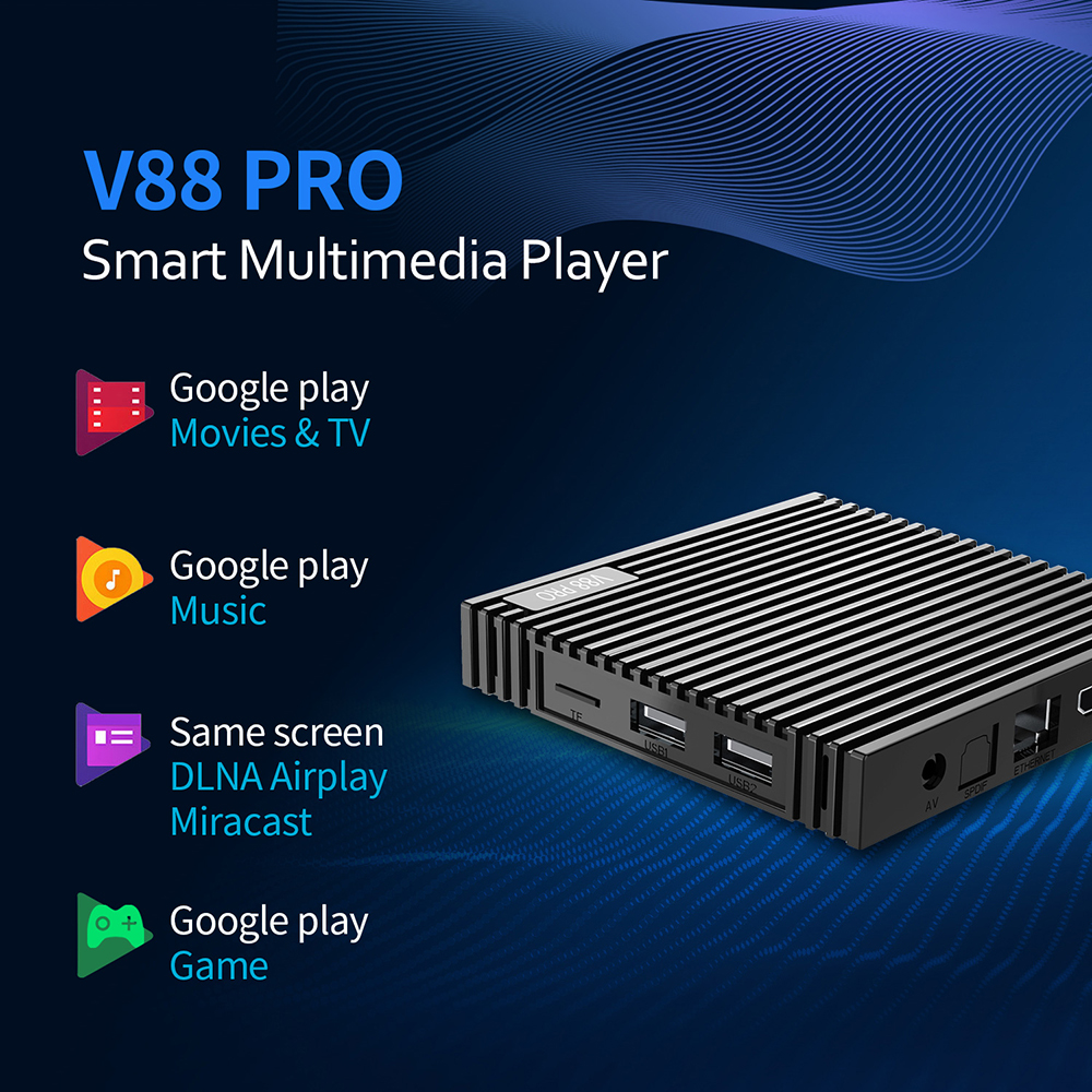V88 PRO TV Box - Black 1GB RAM + 8GB ROM US Plug