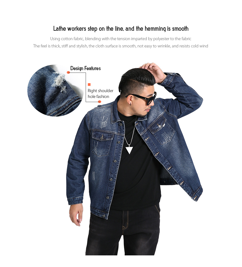 Spring Loose Large Size Men's Luminous Printing Simple Denim Jacket - Blue 6XL Lathe workers step on the line, and the hemming is smooth