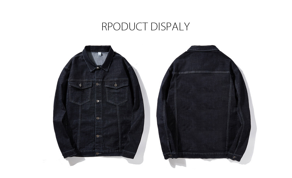 Autumn and Winter Trend Large Size Loose Stretch Men's Denim Jacket - Black XXXXL RPODUCT DISPALY