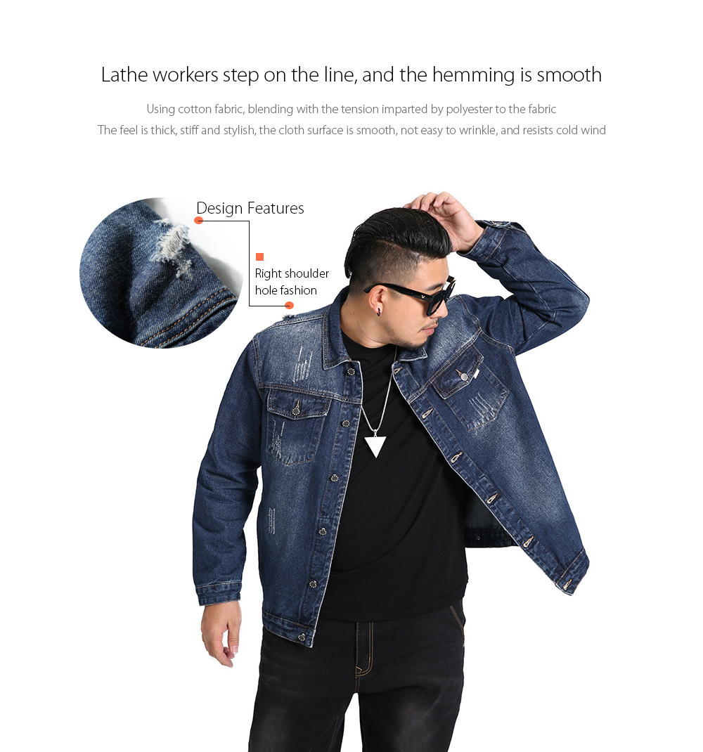 Spring Loose Large Size Men's Letter Printed Casual Denim Jacket - Blue 6XL Lathe workers step on the line, and the hemming is smooth