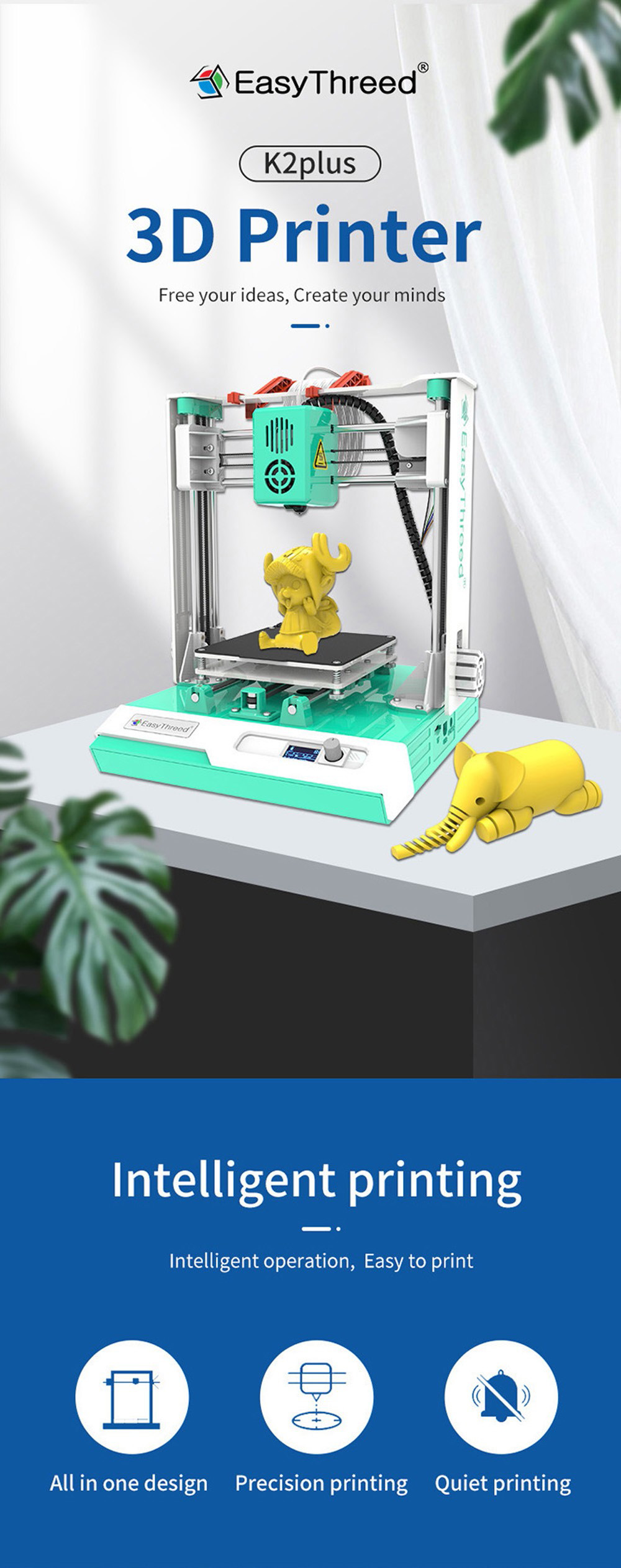 Easythreed K2 Plus Mini 3D Printer - Green US Plug