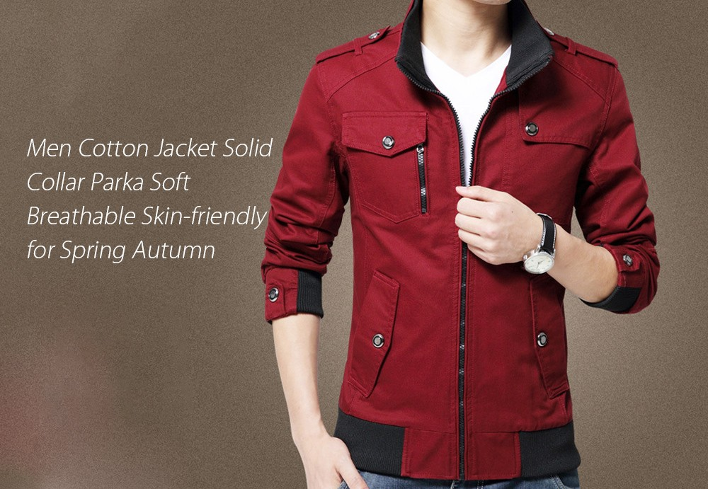 Men Cotton Jacket Solid Collar Parka Soft Breathable Skin-friendly