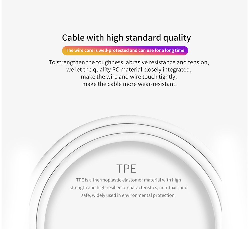 Cable Type C Durable Fast Charging Stable Transmission - White