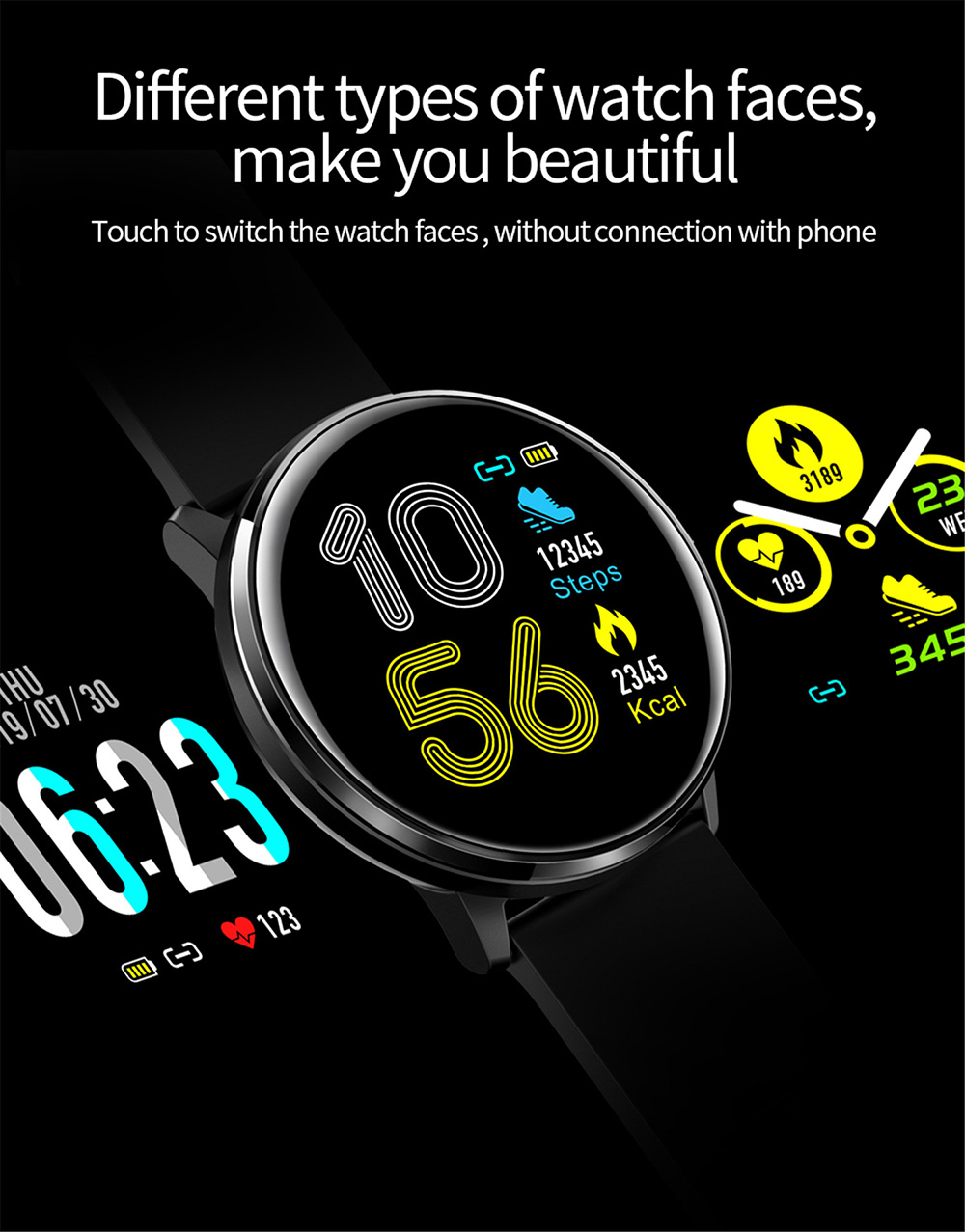 MX6 New Smart Watch Full Screen Touch Smart Bracelet Blood Rate Pressure Monitoring Real Time Weather IP68 Waterproof - Black