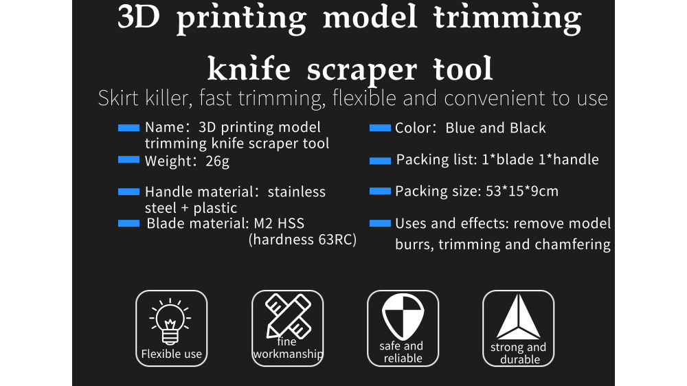 Alfawise 3D Print Model Trimmer Compact Portable Scraper Tool - Blue