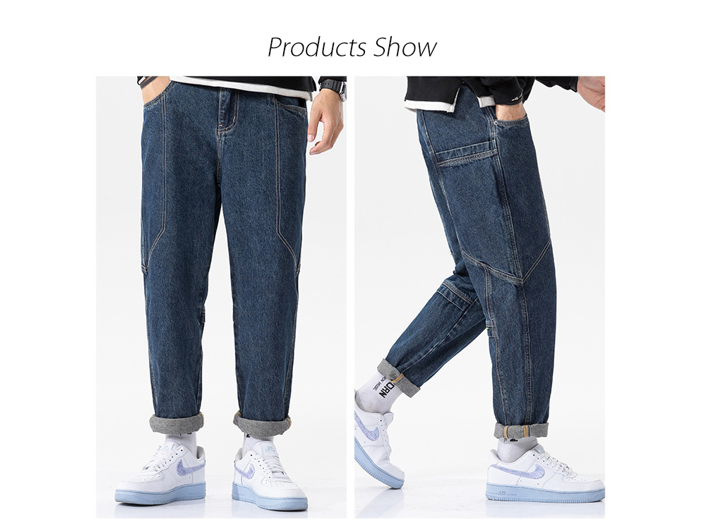 Men's Autumn Daily Youth Blue Basic Loose Casual Korean Denim Trousers - Blue 34 Products Show