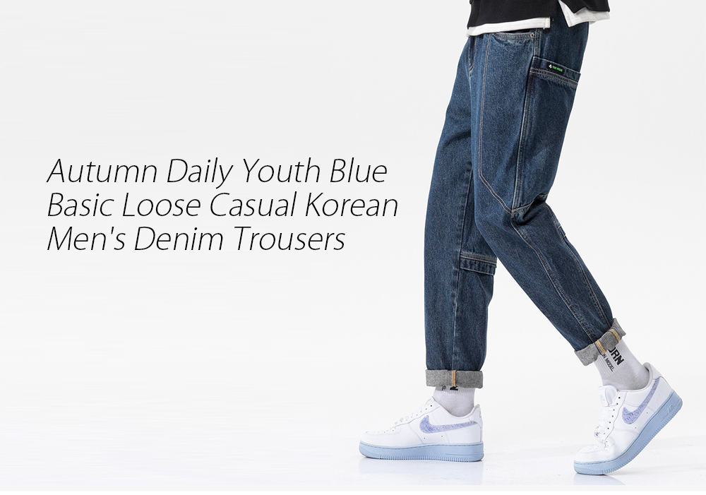 Men's Autumn Daily Youth Blue Basic Loose Casual Korean Denim Trousers - Blue 34 Men's Denim Trousers