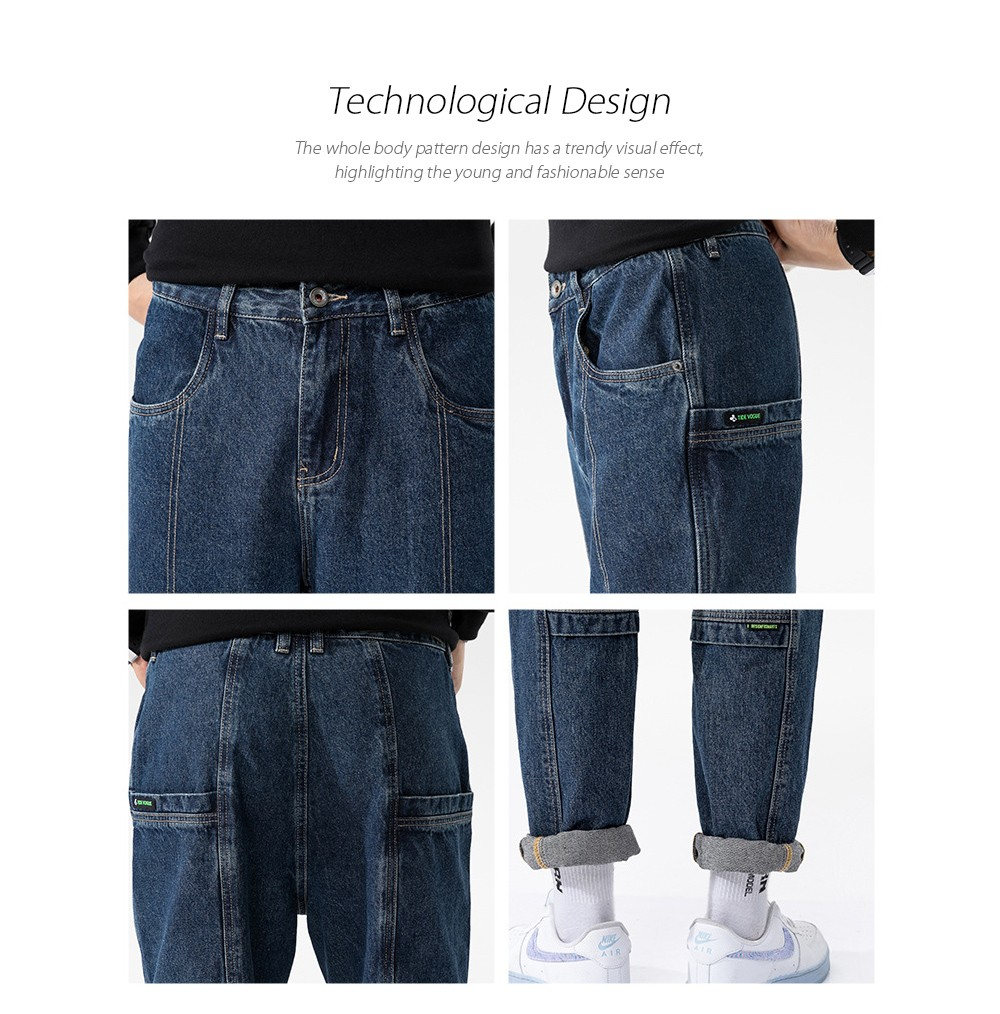 Men's Autumn Daily Youth Blue Basic Loose Casual Korean Denim Trousers - Blue 34 Technological Design