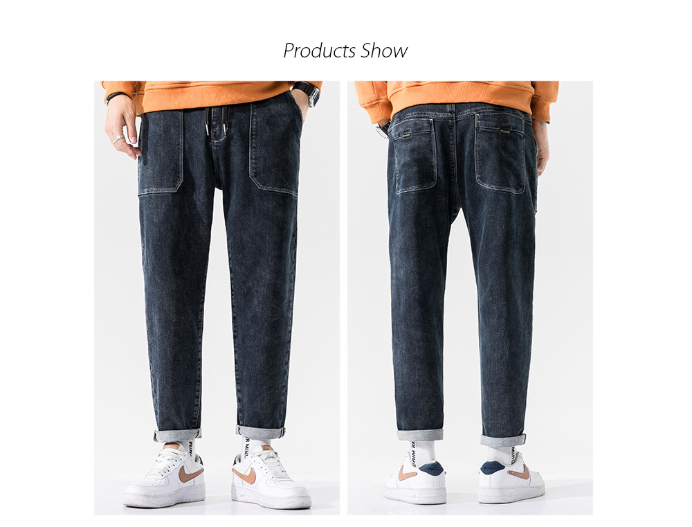 Men's Autumn Blue Korean Style Tie-footed Youth Casual Loose Jeans - Black 40 Products Show