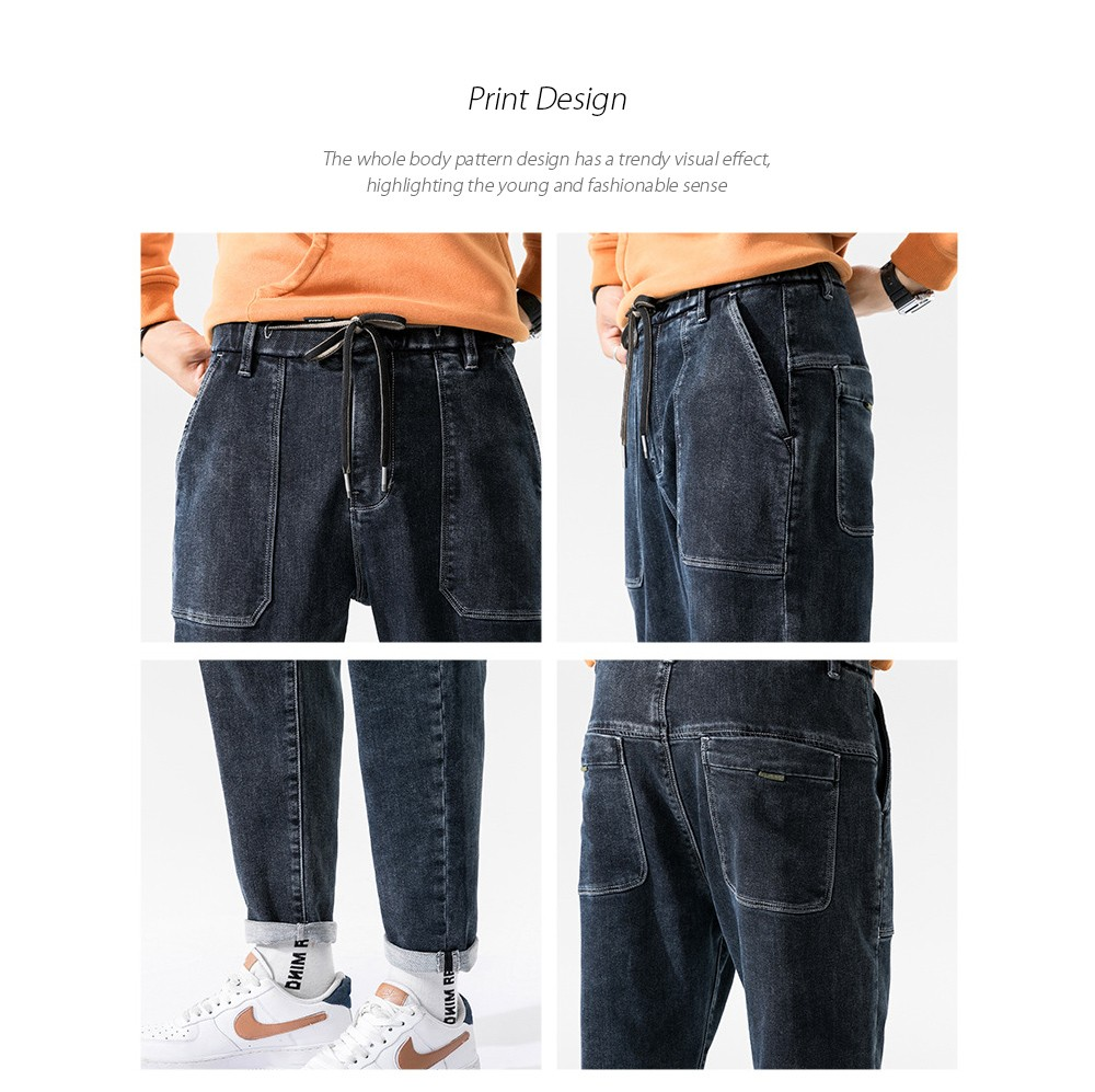 Men's Autumn Blue Korean Style Tie-footed Youth Casual Loose Jeans - Black 40 Technological Design