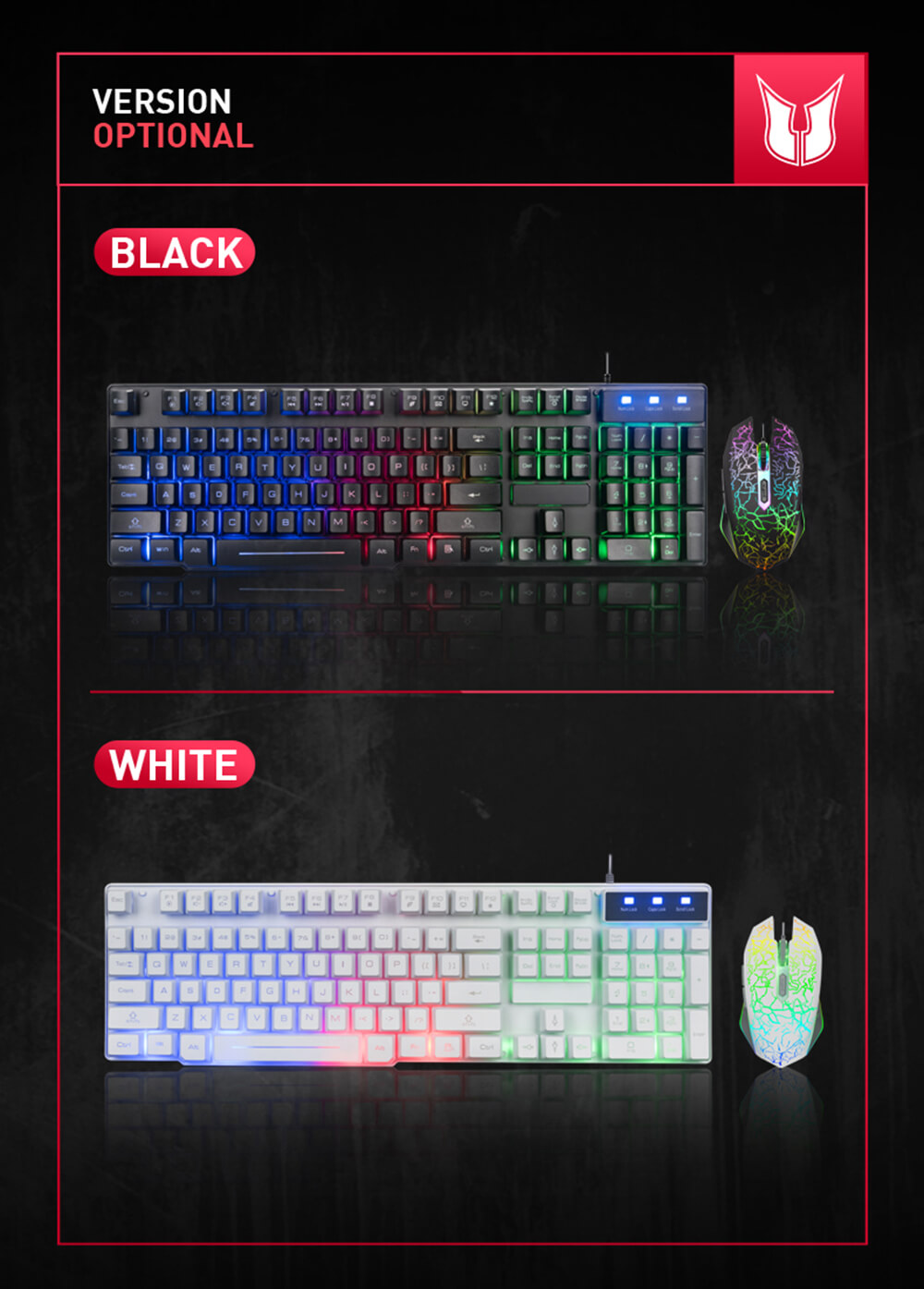 MK100 Keyboard Wired USB Waterproof Backlight Keyboard Game Office Mechanical Keyboard Mouse Set - Black