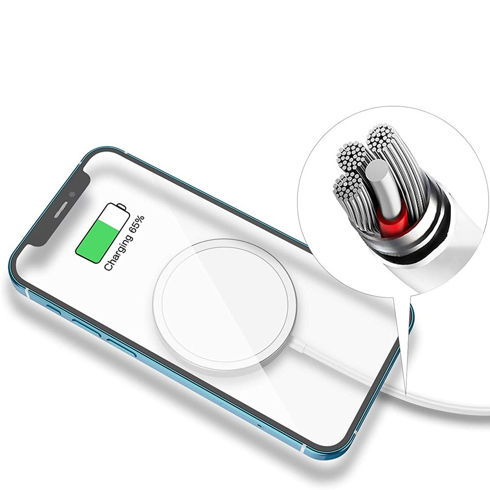 15W Magnetic Auto Aligned Fast Charging Wireless Charger for iPhone 12 Series - White