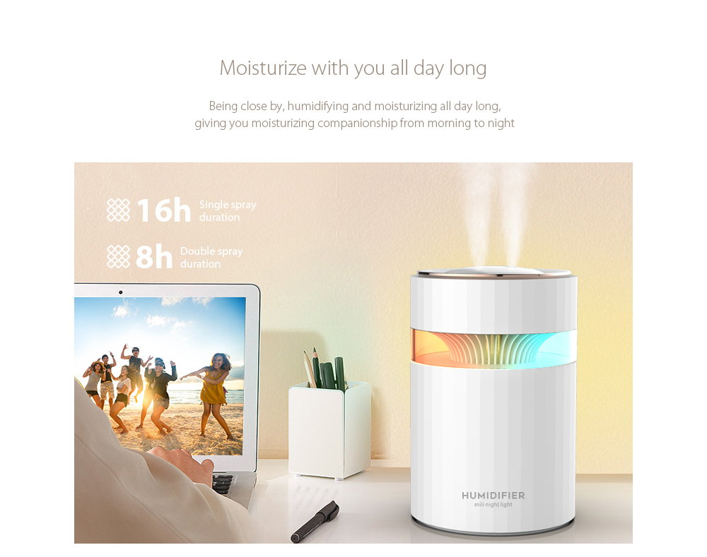 M207 Negative Ion Dual Port Humidifier Moisturize with you all day long