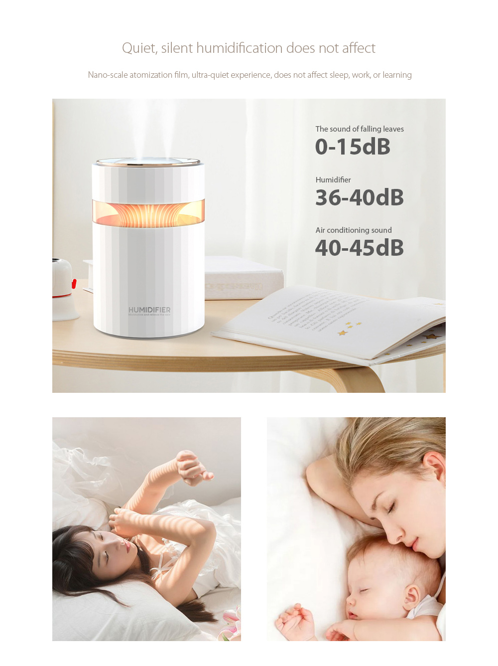 M207 Negative Ion Dual Port Humidifier Quiet, silent humidification does not affect