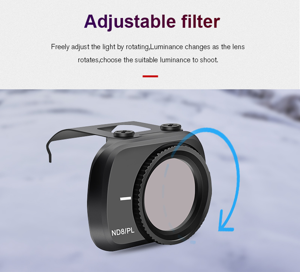 STARTRC Optical Glass Adjustable ND / CPL / UV Filter 4 Suit For DJI MINI 2 - Black