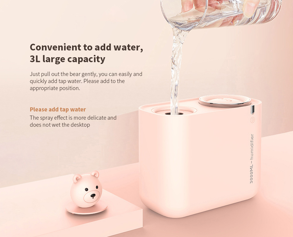 M202 Negative Ion Double Ports Humidifier Convenient to add water, 3L large capacity