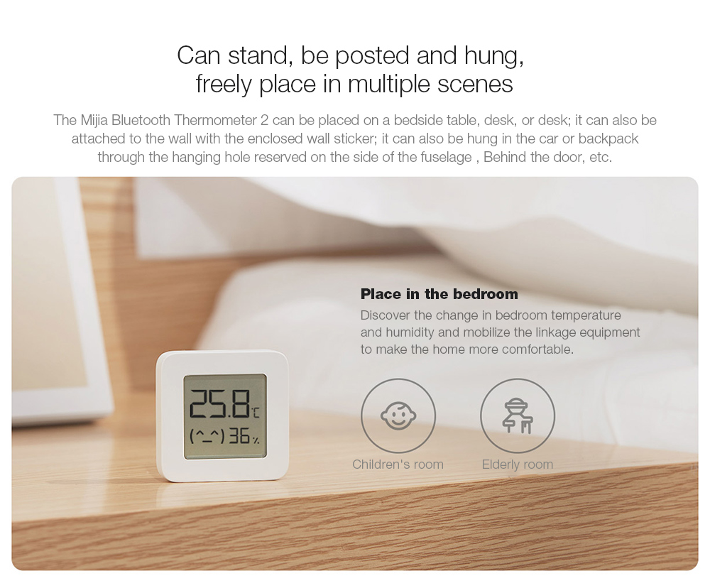 Mijia LYWSD03MMC Bluetooth Hygrometer Can stand, be posted and hung