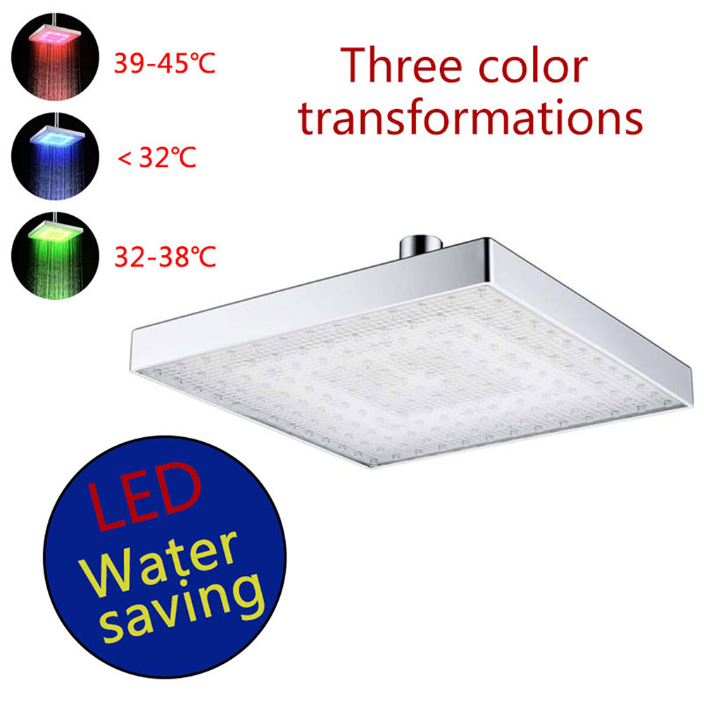 8030-C1 Color Changing Top Spray ABS Square LED Temperature Sensitive Three Color Changing Shower Head - Silver