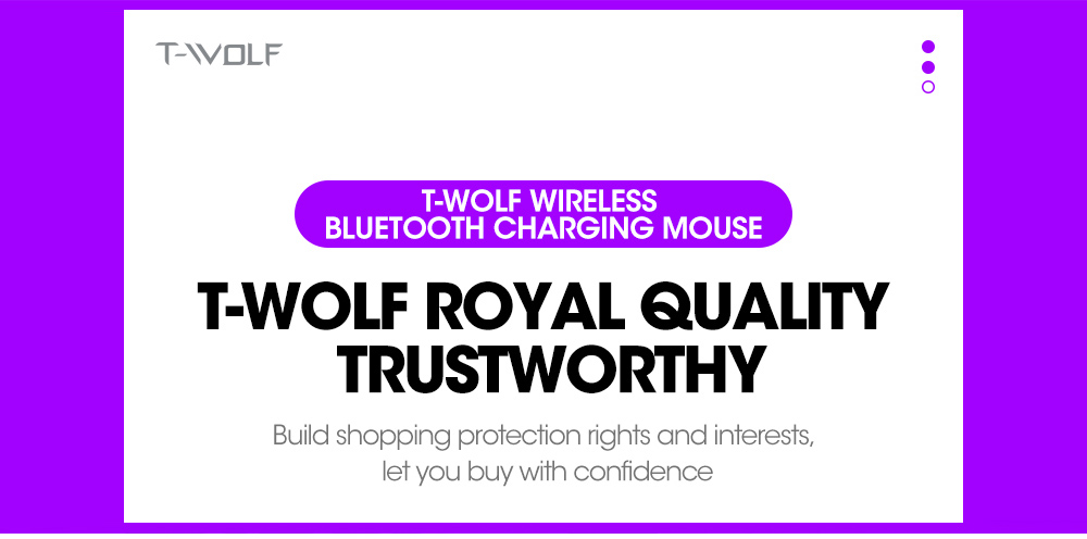T-wolf X1 Wireless Bluetooth Mouse - Black 2.4G Charging Light Version