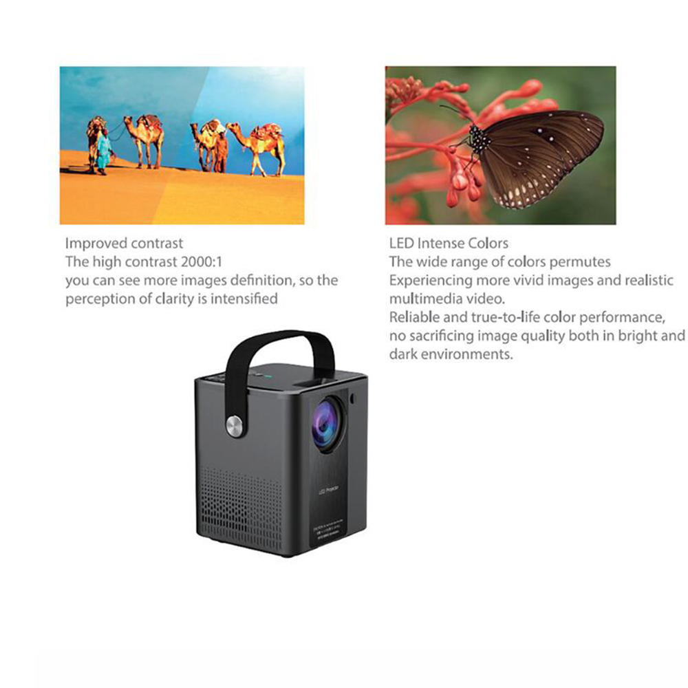 Bilikay C500 Projector Wireless Portable Mobile HD Outdoor Handed Children Projector 800 x 480P Support 1080P - Black EU Plug