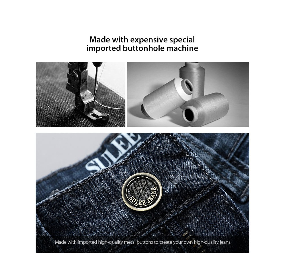 Men's Slim Jeans high-quality metal buttons