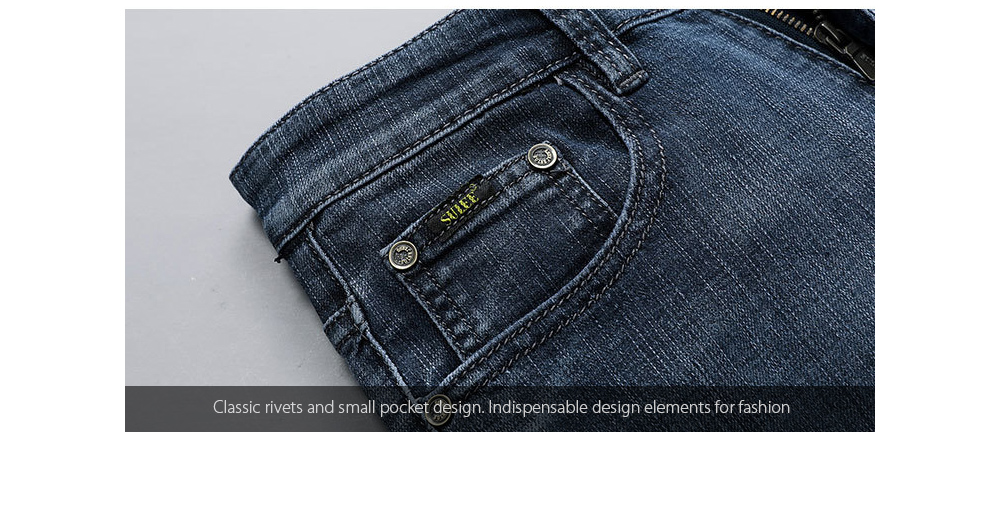 Men's Slim Jeans Classic rivets and small pocket design