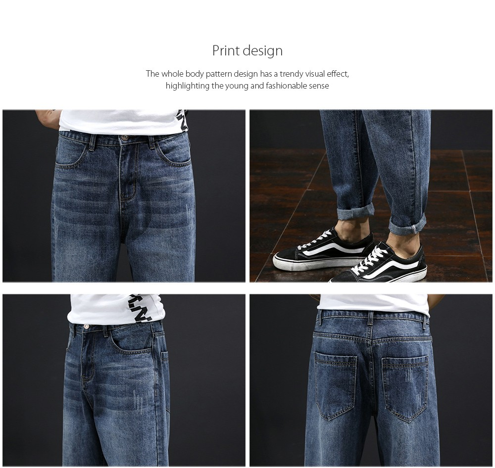 Men's Clothing Loose Straight Jeans Print design