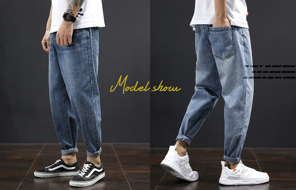 Men's Clothing Loose Straight Jeans model show
