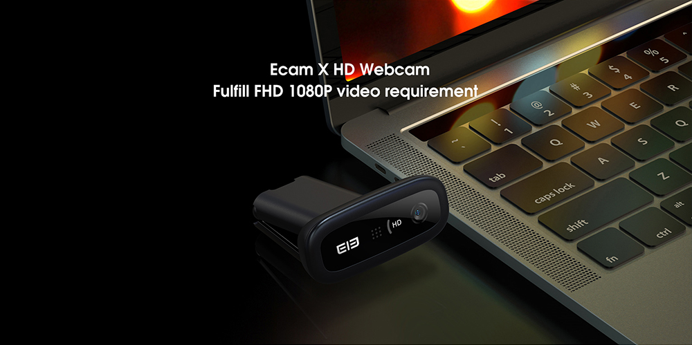 Elephone Ecam X 1080P HD Webcam 5.0 MegaPixels Auto Focus Built-in Microphone for PC Laptop Tablet - Black