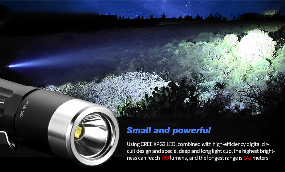 JETbeam PA12 Strong Light Portable LED Flashlight Small and powerful