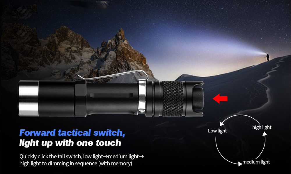 JETbeam PA12 Strong Light Portable LED Flashlight Forward tactical switch, light up with one touch