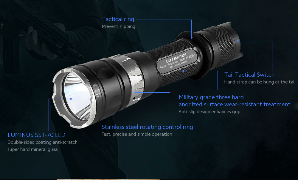 JETbeam RRT2 Strong Light Long Shot Tactical Flashlight details