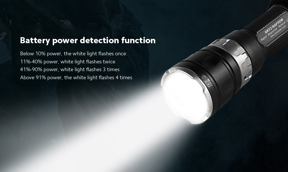 JETbeam RRT2 Strong Light Long Shot Tactical Flashlight Battery power detection function