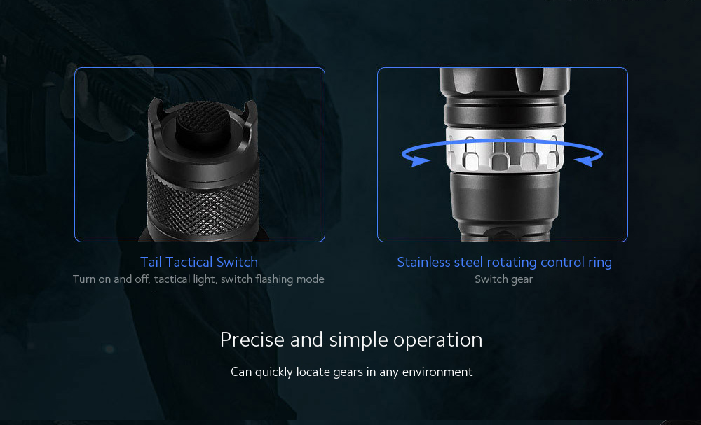 JETbeam RRT2 Strong Light Long Shot Tactical Flashlight Precise and simple operation