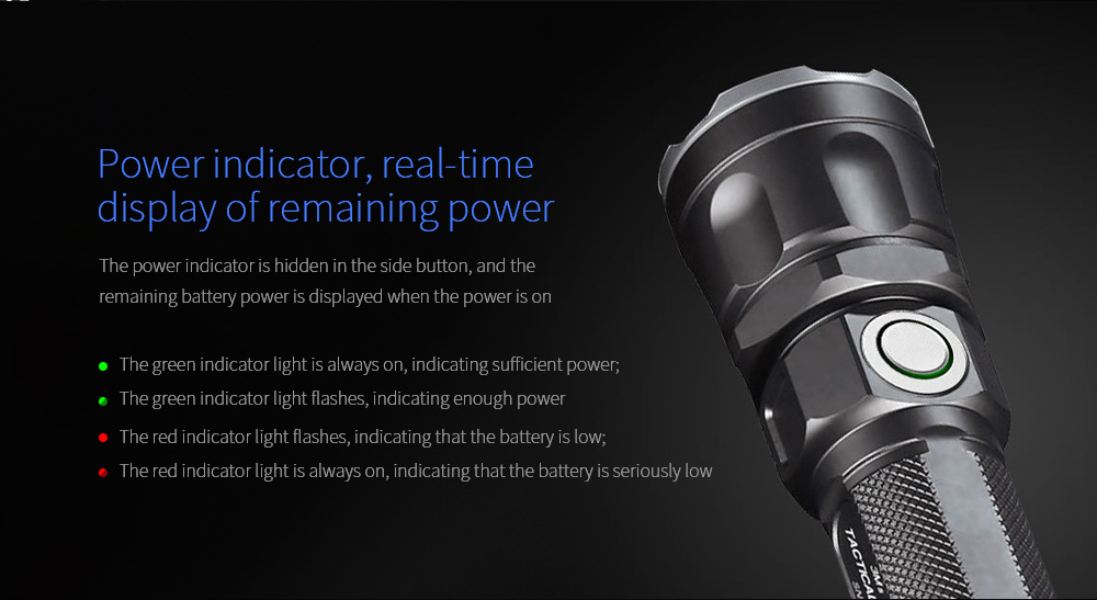 JETBeam 3Ms Outdoor Tactical Flashlight Power indicator
