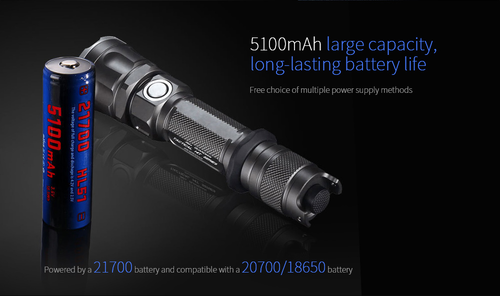 JETBeam 3Ms Outdoor Tactical Flashlight Free choice of multiple power supply methods