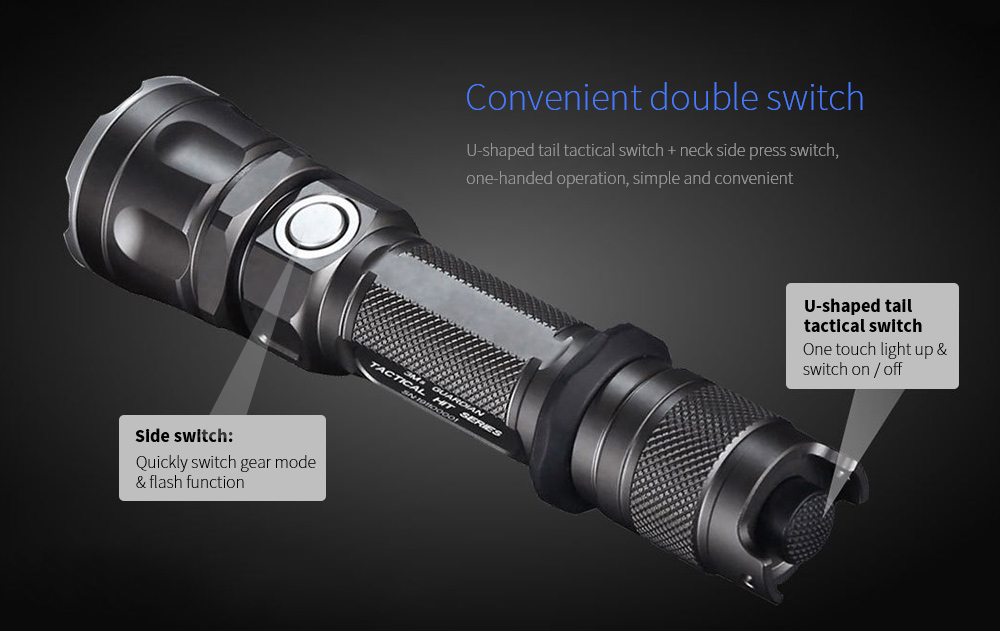 JETBeam 3Ms Outdoor Tactical Flashlight Convenient double switch