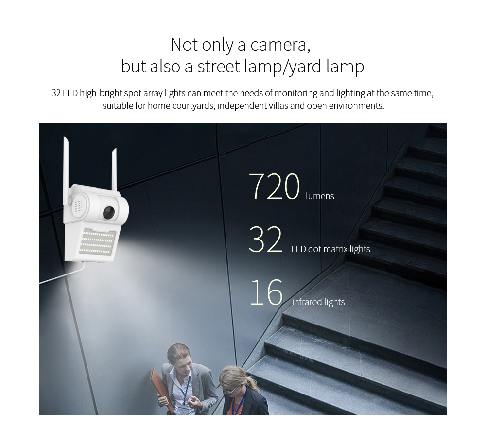 4G Courtyard WiFi 1080P Wide-angle Fisheye Lens IP Camera Not only a camera, but also a street lamp/yard lamp