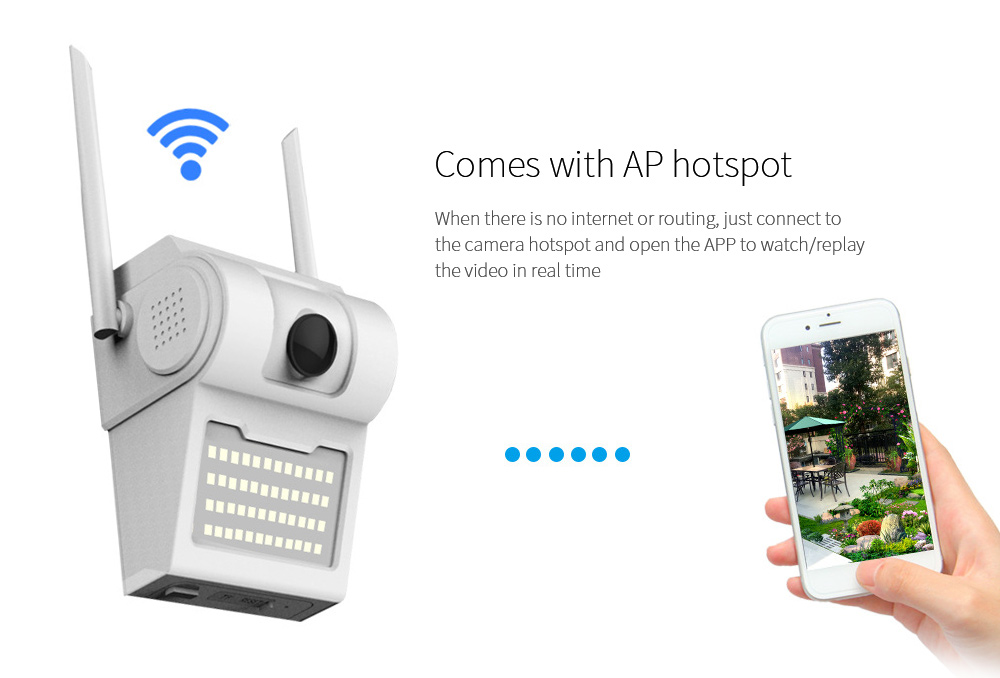 4G Courtyard WiFi 1080P Wide-angle Fisheye Lens IP Camera Comes with AP hotspot
