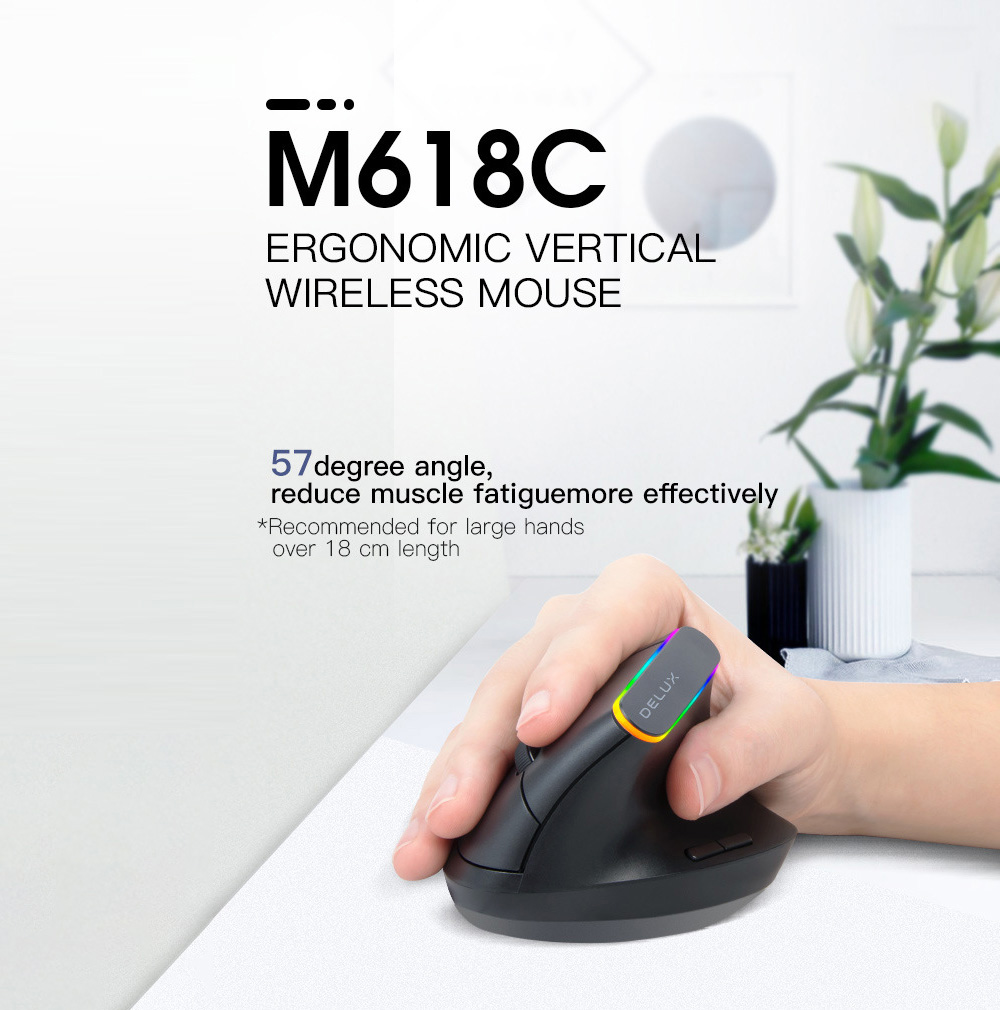 Vertical Ergonomic Engineering Gaming Mouse 6-Button RGB 1600 DPI Optical Wireless Bluetooth Dual Modes Charging for Laptop Notebook Computer - Black M168C Dry Battery Version