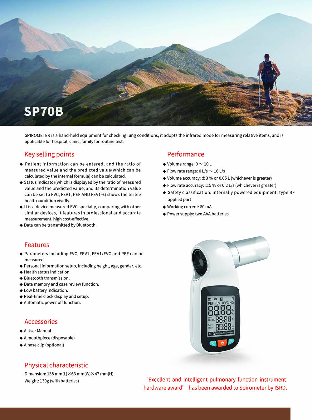 SP70B Spirometer Smart Health Care Product - White