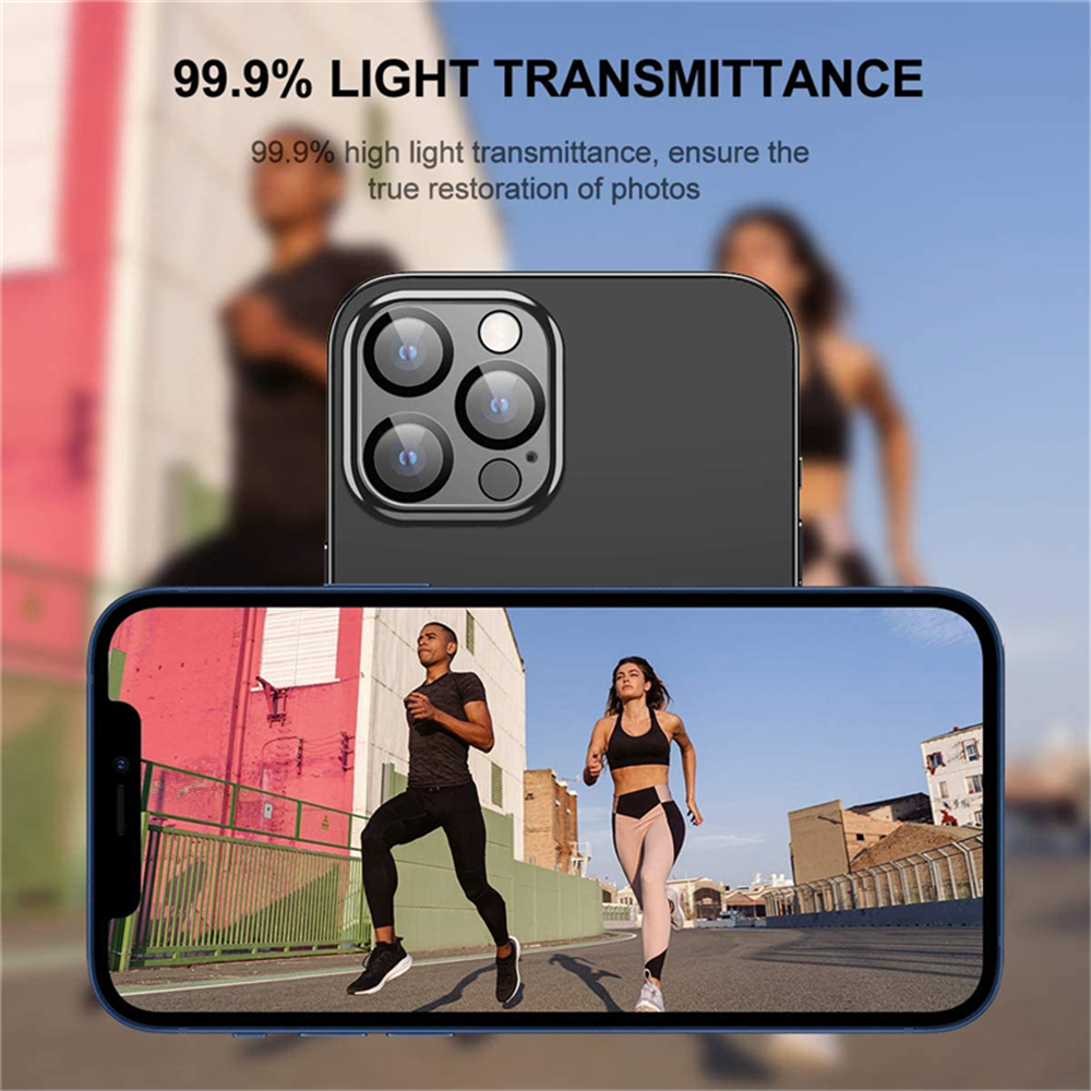 Camera Lens Tempered Glass Protector for iPhone 12 Pro Max 6.7 inch - Black