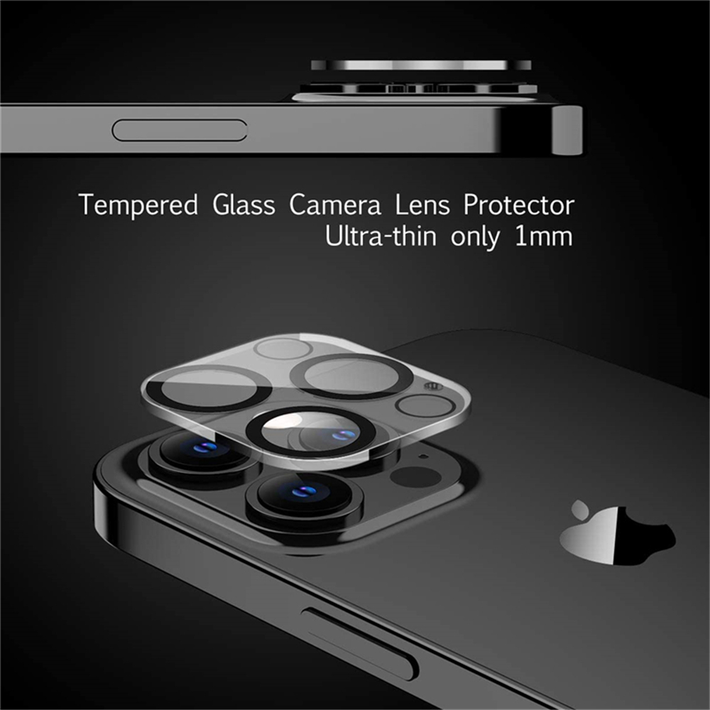 Camera Lens Tempered Glass Protector for iPhone 12 Pro Max 6.7 inch 2pcs - Black