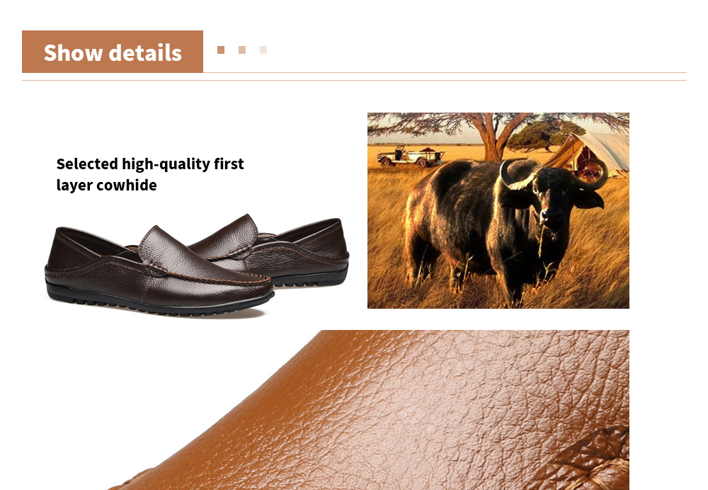 Men's Casual Peas Shoes Selected high-quality first layer cowhide