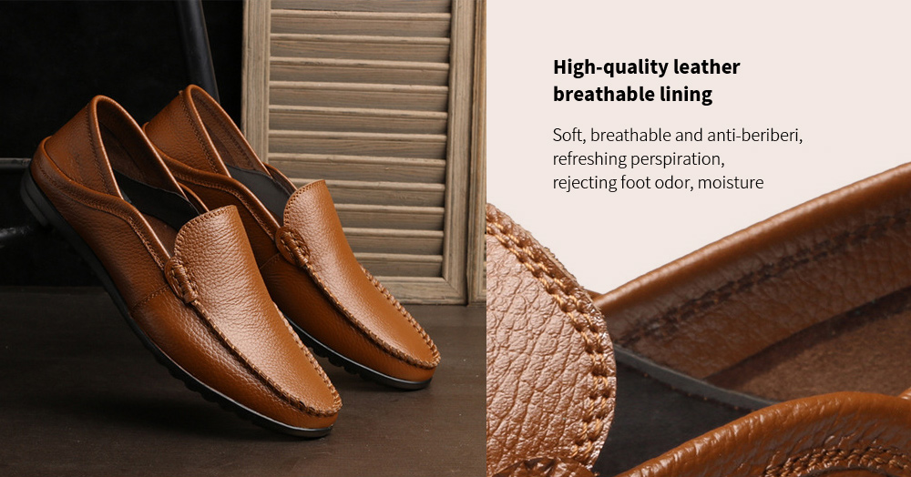 Men's Casual Peas Shoes High-quality leather breathable lining