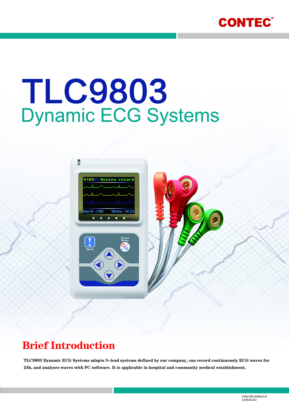 TLC9803 Dynamic ECG Systems Health Care Product - White